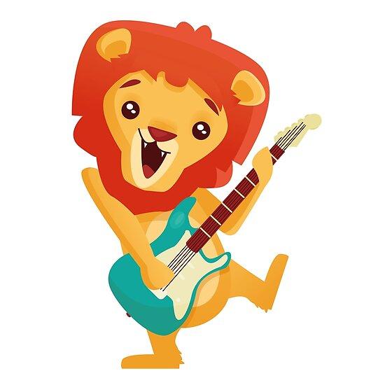 León De Dibujos Animados Tocando Música Con Guitarra Eléctrica Póster By Berlinrob