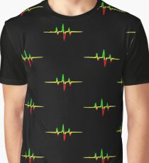 Music Pulse, Reggae, Heartbeat, Rastafari, Jah, Jamaica, Rasta Graphic T-Shirt