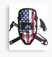 Welder USA Flag Design Metal Print