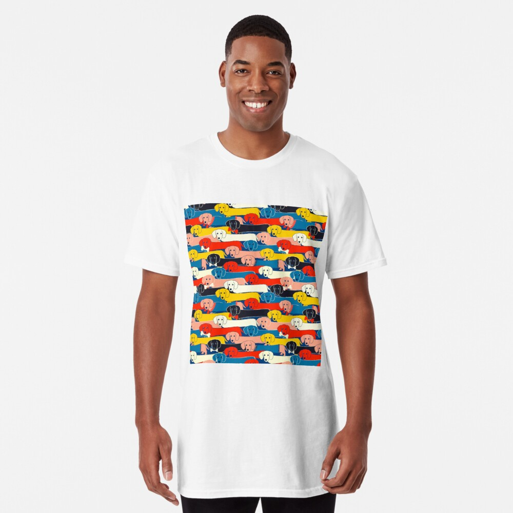 COLORED CUTE DOGS PATTERN 2 Long T-Shirt