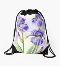 Bearded Iris (watercolour on paper) Drawstring Bag