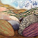 Pebbles on a Shore (mixed media on paper) by Lynne Henderson