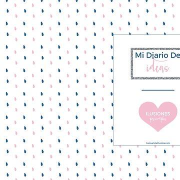 Diario de Ideas con Gotas y Corazón Rosa de elperrodepapel