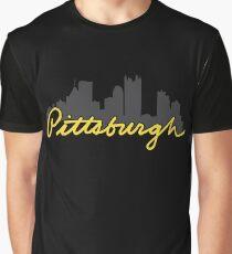 Pittsburgh Skyline Cursive Graphic T-Shirt