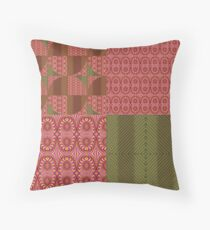 Geoplay peach and oliv Throw Pillow