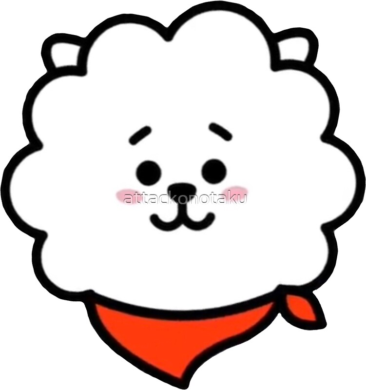 BT21 RJ Face on Merry Christmas Coloring Pages