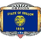 Oregon Art Deco Design with Flag by Cleave