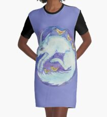 mandala- blue dog Graphic T-Shirt Dress