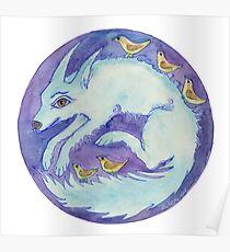 mandala- blue dog Poster