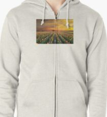 Sunset over colorful Tulip flower fields in full bloom spring season in Woodburn Oregon Zipped Hoodie