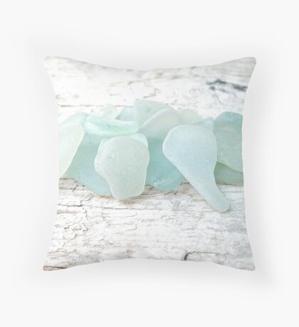 Sea Foam Sea Glass Pale Pastels on White Throw Pillow