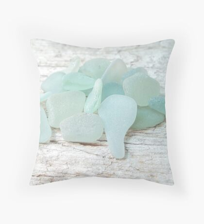 Sea Foam Sea Glass Bright and Pale Throw Pillow