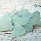 Sea Foam Sea Glass Pieces on Pale Wood by Teresa Schultz