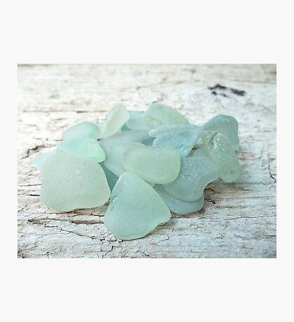 Sea Foam Sea Glass Pieces on Pale Wood Photographic Print
