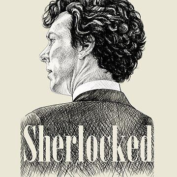 Sherlock Holmes - Estoy Sherlocked - Benedict Cumberbatch Crosshatch Portrait de Rvaya
