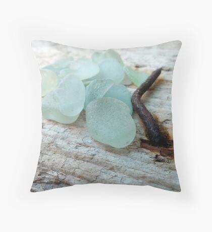 Sea Foam Sea Glass and Rusty Nail Throw Pillow