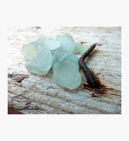 Sea Foam Sea Glass and Rusty Nail Photographic Print