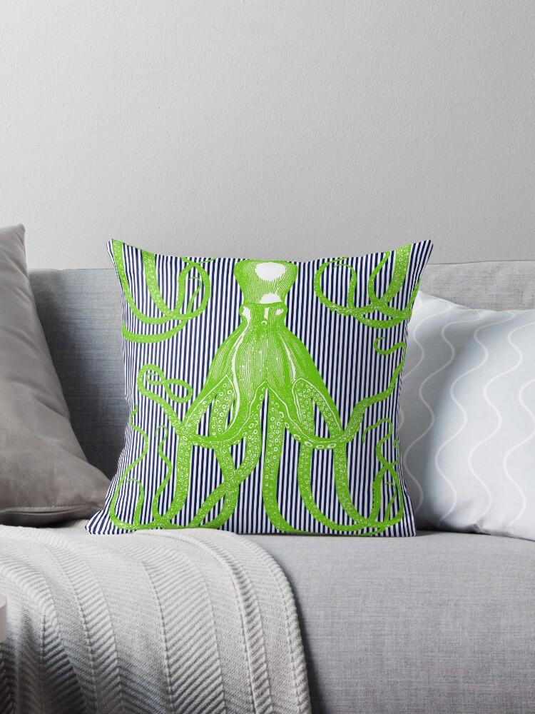 Jaunty Antique Octopus on Thin Stripes by Pixelchicken