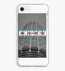 Marina Tower Chicago with Chicago Text and Flag iPhone Case/Skin