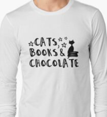 cats, books & chocolate crooked hand lettering fun claim quote Long Sleeve T-Shirt