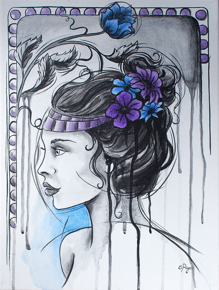 Art Nouveau Girl 1 by emilypageart