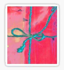 Atractivo azul eléctrico busca lazo rosa fluorescente... Pegatina