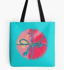 Atractivo azul eléctrico busca lazo rosa fluorescente... Bolsa de tela