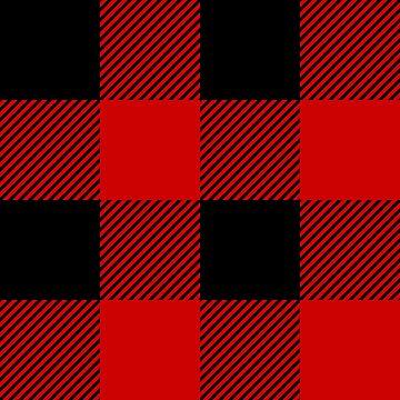Buffalo Plaid Check Gingham Tartan Twill Pattern, Red Black by YLGraphics