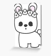 Cute Blanc de Hotot Bunny with Flower Crown: Grey Outline Greeting Card