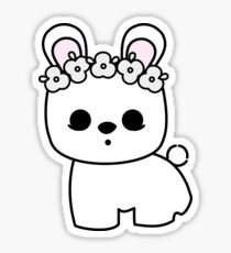 Cute Pet Bunny Blanc de Hotot with Flower Crown Original Sticker