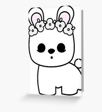 Cute Pet Bunny Blanc de Hotot with Flower Crown Original Greeting Card