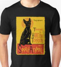 Funny American Hairless Terrier Cute Dog Chat Noir Mashup Art Design Unisex T-Shirt