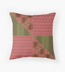 Geo peach oliv diagonal Throw Pillow