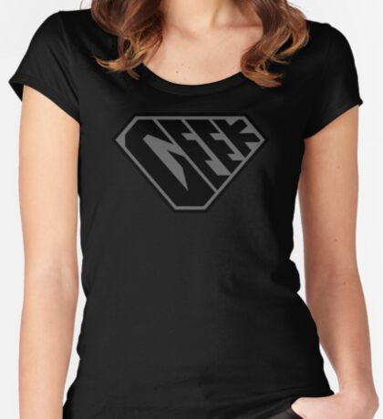 Geek SuperEmpowered (Black on Black) Fitted Scoop T-Shirt