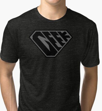 Geek SuperEmpowered (Black on Black) Tri-blend T-Shirt