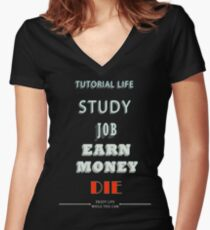 TUTORIAL LIFE Women's Fitted V-Neck T-Shirt