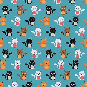 Cute Cattern: Cat Madness, Cat-astrophe, Kitty Chaos, and Cattywampus! Sticker set or repeating pattern. by null-painter
