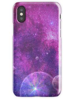 iPhone and Samsung Galaxy Covers Featuring Distance Ships on the Space Horizon