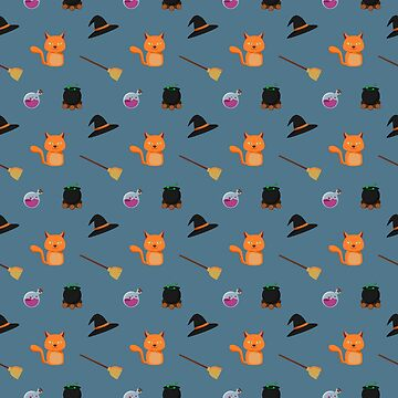 Cute witchy stuff for cute witches like you! Sitcker set or repeating pattern. by null-painter
