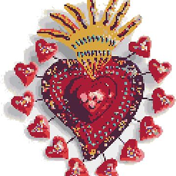 Mexican pixel heart by ichindenshin