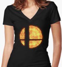 Super Smash Bros Flaming Logo Women's Fitted V-Neck T-Shirt