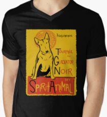 Camiseta para hombre de cuello en v Funny Bull Terrier Cute Dog Chat Noir Mashup Art Design