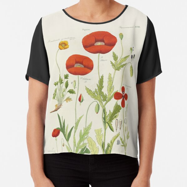 Botanical illustration: Poppy by David Dietrich – State Library Victoria Chiffon Top