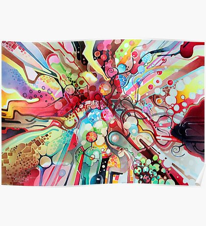 Time-Lapse Geometry Battle - Watercolor Painting Poster