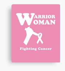 Warrior Woman Fighting Cancer Ribbon for Feminist Canvas Print