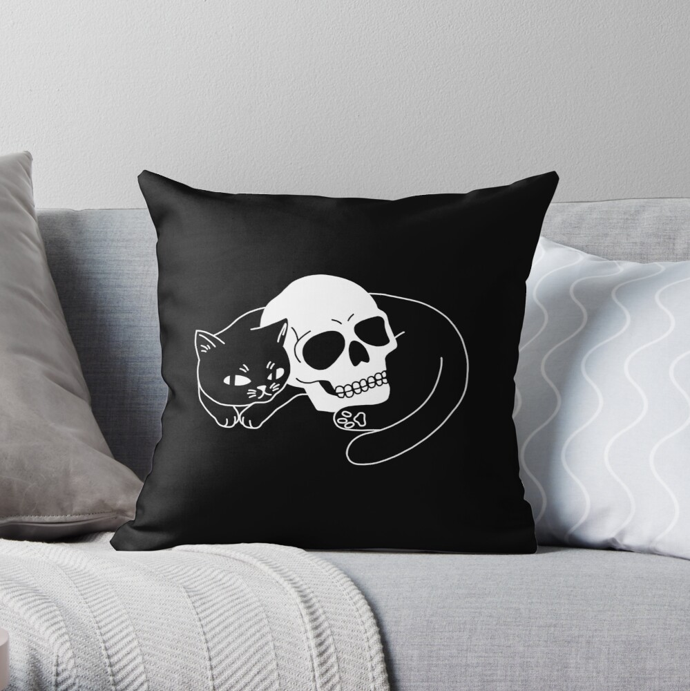 Spooky Cat Throw Pillow