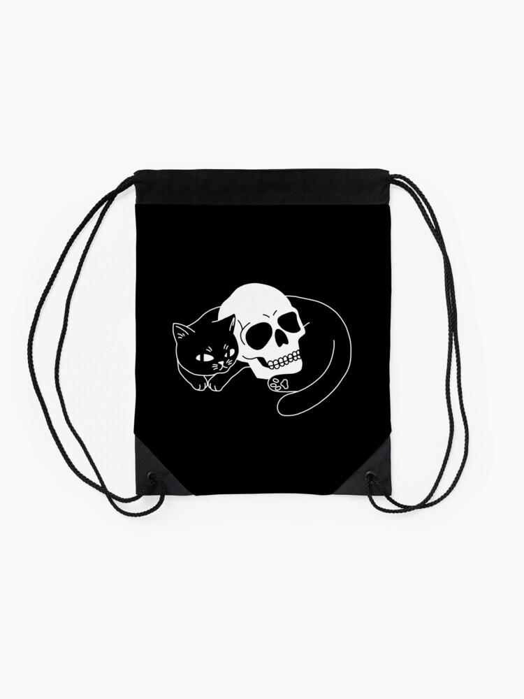 Alternate view of Spooky Cat Drawstring Bag