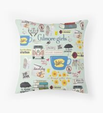 Gilmore Girls Collage, mint green Throw Pillow