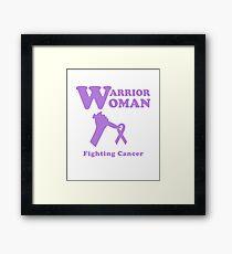 Warrior Woman Fighting All Cancer Ribbon for Feminist Framed Print