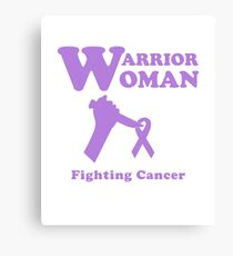 Warrior Woman Fighting All Cancer Ribbon for Feminist Canvas Print